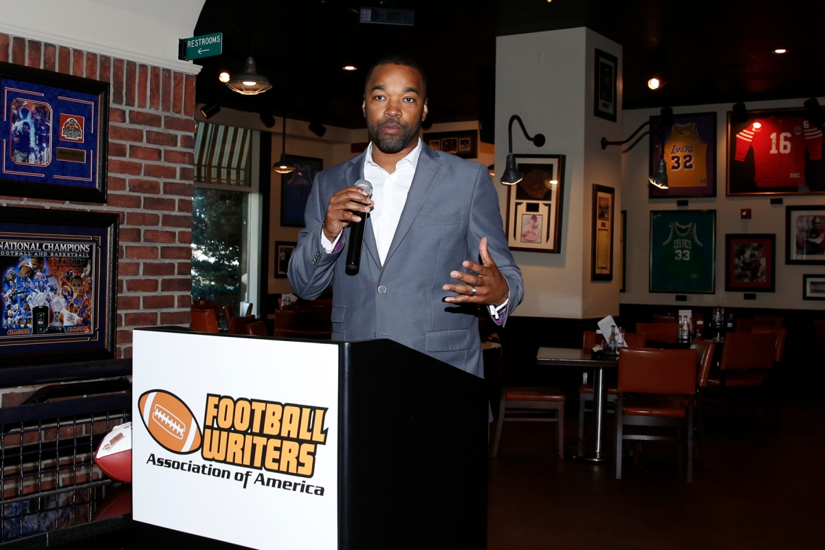 Curtis Blackwell, CEO of Sound Mind Sound Body, which sponsored the FWAA Freshman All-America Team, addresses the audience at the FWAA Awards Breakfast on Jan. 9, 2017, in Tampa. Photo by Melissa Macatee.