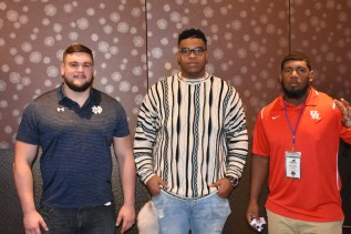 The finalists for the 2017 Outland Trophy, left to right: Quenton Nelson of Notre Dame, Orlando Brown of Oklahoma and Ed Oliver of the University of Houston. Photo by Andy Crawford.