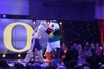 The BYU Cougar and the Oregon Duck entertained the audience at the College Football Awards Show. Photo by Andy Crawford.