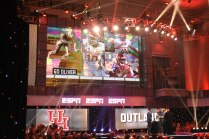 The stage is set for 2017 Outland Trophy winner Ed Oliver of the University of Houston at the College Football Awards Show. Photo by Andy Crawford.