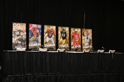 The stage is set for the five Bronko Nagurski Award finalists at the Nagurski High School Leadership Forum. Photo by Michael Strauss.