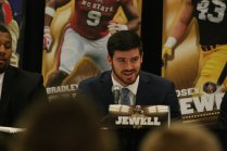 Iowa linebacker Josey Jewell, one of five finalists for the 2017 Bronko Nagurski Award, at the Nagurski High School Leadership Forum. Photo by Michael Strauss.
