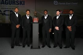 The five finalists for the 2017 Bronko Nagurski Award, left to right: Bradley Chubb of North Carolina State, Minkah Fitzpatrick of Alabama, Roquan Smith of Georgia, Josey Jewell of Iowa and Ed Oliver of the University of Houston. Photo by Michael Strauss.