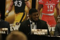Ed Oliver of the University of Houston, a finalist for the Bronko Nagurski Award, at the Nagurski High School Leadership Forum. Photo by Michael Strauss.