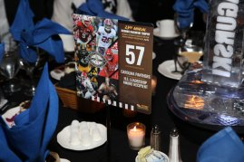 A table setting for the Bronko Nagurski Award Banquet, sponsored by the Charlotte Touchdown Club. Photo by Michael Strauss.