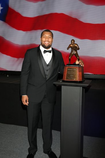 Bradley Chubb of North Carolina State, winner of the 2017 Bronko Nagurski Award. Photo by Michael Strauss.
