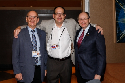 Left to right, Doug Vance (CoSIDA), Josh Krulewitz (ESPN) and Charlie Fiss (Cotton Bowl). Photo by Melissa Macatee.