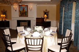 A table set for the Past Presidents Dinner at the Capital City Club in Atlanta. Photo by Melissa Macatee.