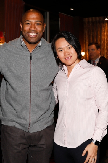 Former Alabama star Shaun Alexander and FWAA 2018 President Stefanie Loh. Photo by Melissa Macatee.