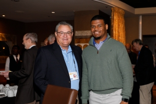 Left to right, Larry Wahl (Orange Bowl) and Virginia linebacker Michah Kaiser (Campbell Award winner). Photo by Melissa Macatee.