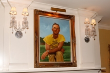 The scene of the Past Presidents Dinner in Atlanta's Capital City Club was decorated with a painting of famed Georgia Tech coach Bobby Dodd. Photo by Melissa Macatee.