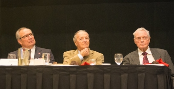 Those seated at the head table for the Outland Trophy presentation dinner included Nebraksa athletic director Bill Moos, former Florida State coach Bobby Bowden and former Nebraska coach Tom Osborne. C41Photography.