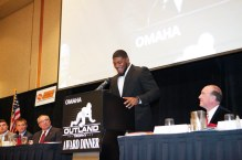 Outland Trophy winner Ed Oliver of the University of Houston enjoys a laugh during his acceptance speech. C41Photography.