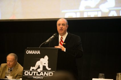 Greg Sharpe, the play-by-play voice of Nebraska football, was the emcee at the Outland Trophy presentation dinner. C41Photography.