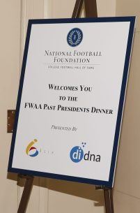 Sign welcoming guests to the FWAA Past Presidents Dinner. Photo by Melissa Macatee.