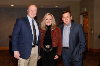 (L-R) Sugar Bowl's Jeff Hundley, FWAA's Margaret Mason and FWAA Past President and Bert McGrane recipient Tony Barnhart. (Photo by Melissa Macatee)