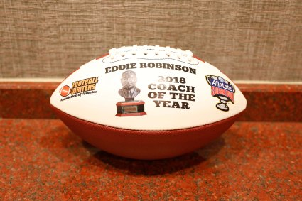 Eddie Robinson Coach of the Year commemorative football. (Photo by Melissa Macatee)