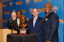 ( L-R) FWAA Executive Director Steve Richardson, Eddie Robinson III, UAB Coach Bill Clark and Sugar Bowl President Rod West. (Photo by Melissa Macatee)
