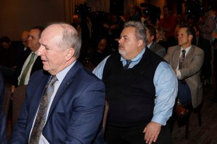 Sugar Bowl COO Jeff Hundley (left) and Conference USA's Russ Anderson (right). (Photo by Melissa Macatee)