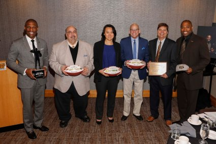 FWAA Headliners at 2019 Breakfast (L-R): Robert Morris President Chris Howard (Merit Award Recipient); Seattle Times' Stefanie Loh (Outgoing 2018 FWAA President); CBSSports.com's Dennis Dodd (FWAA Co-Beat Writer of the Year); Kansas City Star's Blair Kerkhoff (2019 Bert McGrane Award Recipient); Shaun Alexander (Namesake for FWAA Freshman of the Year). (Photo by Melissa Macatee)
