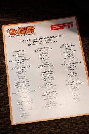 The 2019 FWAA Annual Awards Breakfast Program. (Photo by Melissa Macatee)