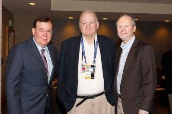 Three Bert McGrane Award recipients (L-R): Tony Barnhart, Mark Blaudschun, Steve Wieberg. Barnhart and Blaudschun are Past FWAA Presidents as well as current FWAA Board Members. (Photo by Melissa Macatee)