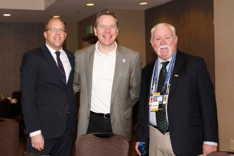 ((L-R) John McElwain of the Sun Belt Conference, Ken Mather of the Mid-American Conference and Doug Kelley of the Football Bowl Association. Kelly is a current FWAA Board Member. (Photo by Melissa Macatee)