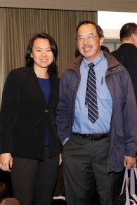 2018 FWAA President Stef Loh and San Jose State Sports Information Director Lawrence Fan. (Photo by Melissa Macatee)