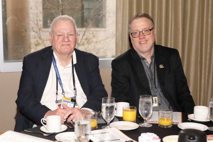 (L-R) Mark Blaudschun and Chris Dufresne, past FWAA presidents. (Photo by Melissa Macatee)