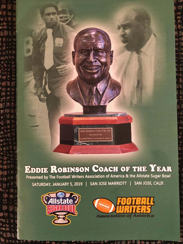 The program for the 2018 Eddie Robinson Coach of the Year Award. (Photo by Melissa Macatee)