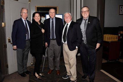 (L-R) FWAA Board member Malcolm Moran, Sheila Dufresne, CFP Executive Director Bill Hancock, FBA's Doug Kelly, FWAA Past President Chris Dufresne. (Photo by Melissa Macatee)