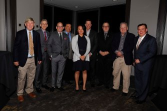 Nine FWAA Past Presidents: Dick Weiss, George Schroeder, Dennis Dodd, Mike Griffith, Stefanie Loh, Ivan Maisel, Chris Dufresne, Mark Blaudschun, Tony Barnhart. (Photo by Melissa Macatee)