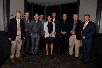 Nine FWAA Past Presidents: Dick Weiss, George Schroeder, Dennis Dodd, Mike Griffith, Stefanie Loh, Ivan Maisel, Chris Dufresne, Mark Blaudschun, Tony Barnhart. (Photo by Melissa Macatee)