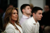 LSU Coach Ed Orgeron's wife, Kelly, and two of his sons in the audience. (Photo by Melissa Macatee)