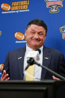 LSU Coach Ed Orgeron in a light moment after receiving the FWAA/Eddie Robinson Coach of the Year Award. (Photo by Melissa Macatee)