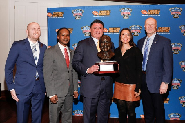Left to right, 2019 FWAA President Matt Fortuna, Eddie Robinson III, LSU Coach Ed Orgeron, Allstate Sugar Bowl President Monique Morial and Allstate Sugar Bowl CEO Jeff Hundley. (Photo by Melissa Macatee)