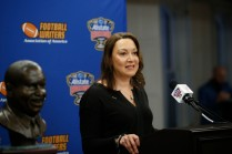 Monique Morial, president of the board of the Sugar Bowl, presenting sponsor of the FWAA/Eddie Robinson Coach of the Year Award. (Photo by Melissa Macatee)