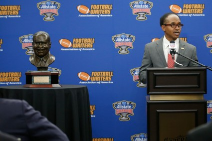 Eddie Robinson III, grandson of the former Grambling coach, addresses the audience before presenting the Coach of the Year Award. (Photo by Melissa Macatee)