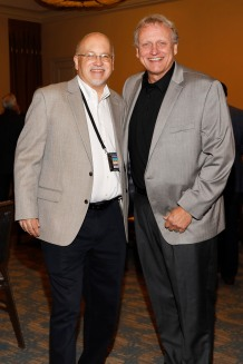 Lenny Vangilder of Crescent City Sports and 2008 FWAA President Ron Higgins. (Photo by Melissa Macatee)