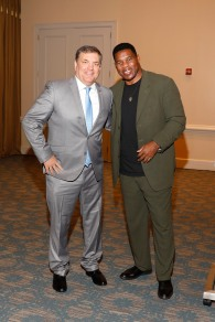 2007 FWAA President Mike Griffith and former Georgia All-American and 1982 Heisman Trophy winner Herschel Walker. (Photo by Melissa Macatee)