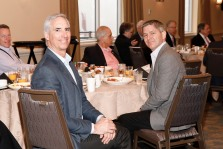 Oliver Luck, CEO and commissioner of the XFL and Rob Carolla, director of communications and media relations for the new league's Dallas Renegades. (Photo by Melissa Macatee)