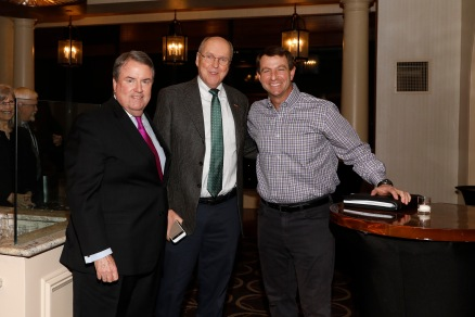 Steve Hatchell of the National Football Foundation,, Bill Hancock of the College Football Playoff and Clemson coach Dabo Swinney. (Photo by Melissa Macatee)